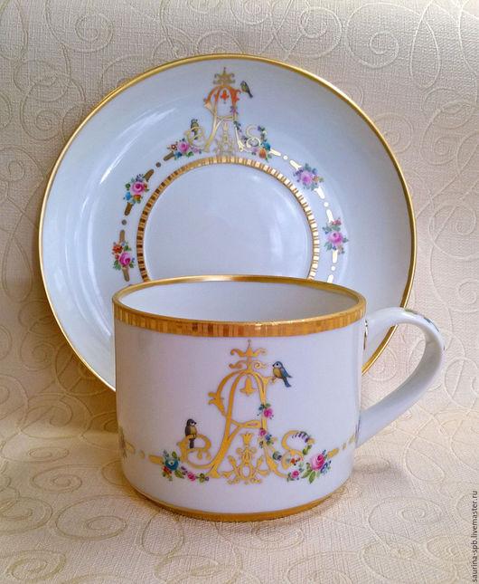 Сервизы, чайные пары ручной работы. Ярмарка Мастеров - ручная работа. Купить Чашка чайная с монограммой. Handmade. Золотой, юбилей