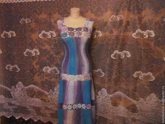 Платья ручной работы. Ярмарка Мастеров - ручная работа. Купить Платье вязаное спицами  Весна 100% хлопок. Handmade. Разноцветный