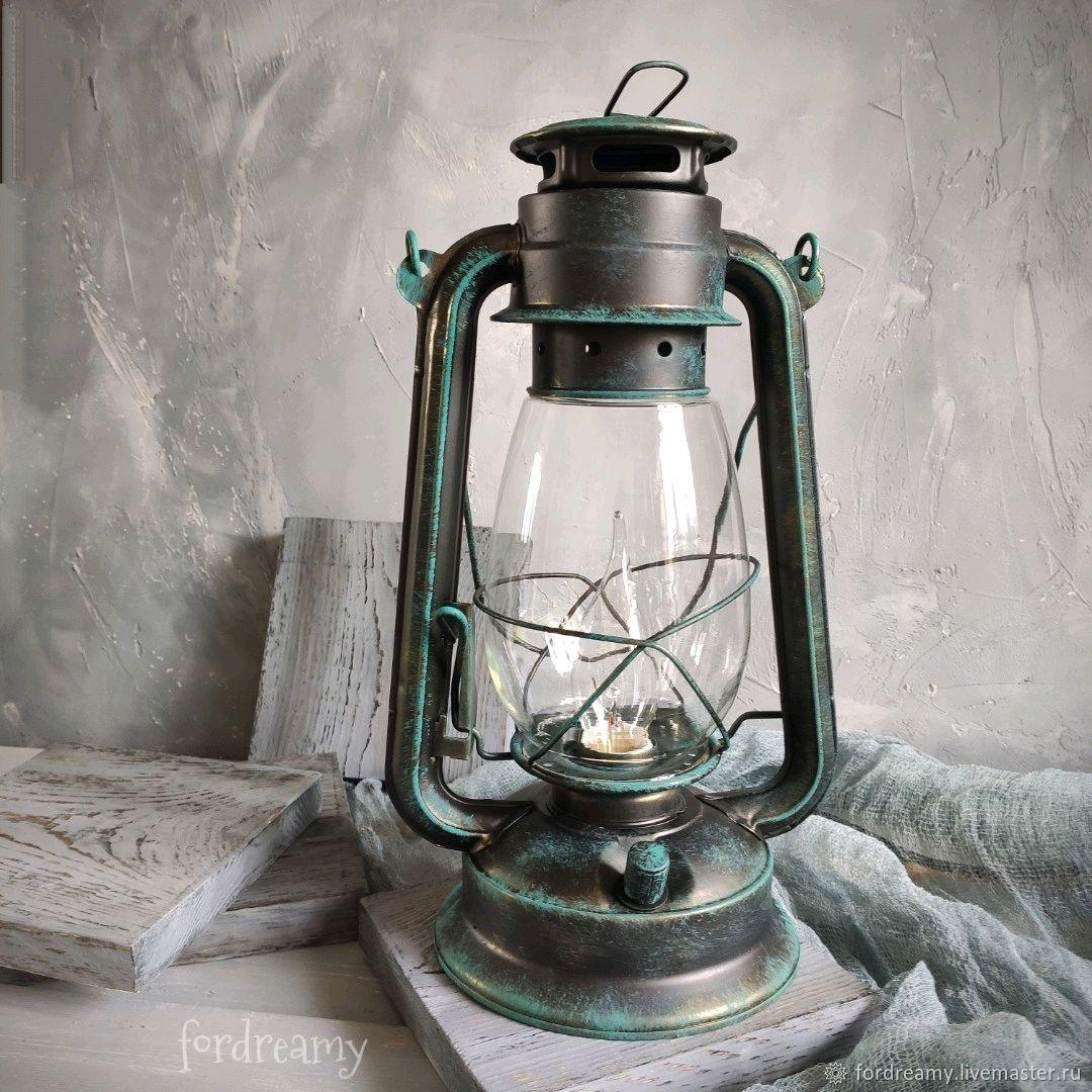 Керосиновая лампа электрическая ночник керосиновый фонарь лофт винтаж, Настольные лампы, Москва,  Фото №1