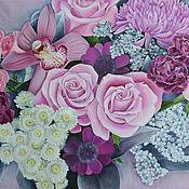 Картины ручной работы. Ярмарка Мастеров - ручная работа Картины: Цветы на холсте. (2). Handmade.