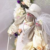 Куклы и игрушки ручной работы. Ярмарка Мастеров - ручная работа Зайцы - неразлучники свадебные. Игрушка текстильная. Handmade.