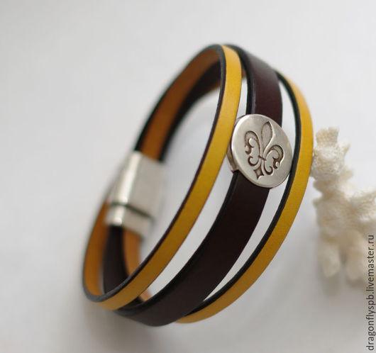 """Браслеты ручной работы. Ярмарка Мастеров - ручная работа. Купить Кожаный браслет """"Радость"""". Handmade. Коричневый, радость, оригинальное украшение"""