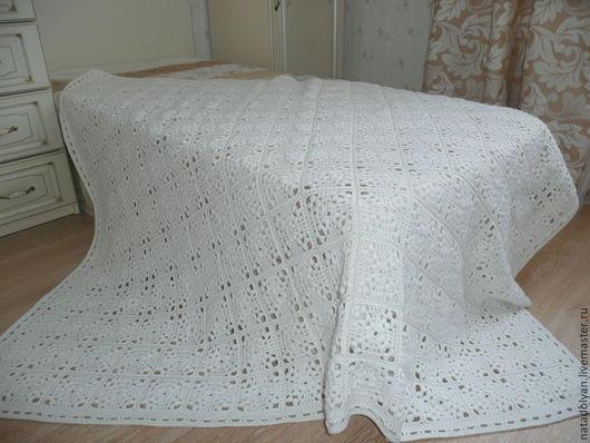 Текстиль, ковры ручной работы. Ярмарка Мастеров - ручная работа. Купить Плед вязаный ажурный. Handmade. Белый, плед крючком