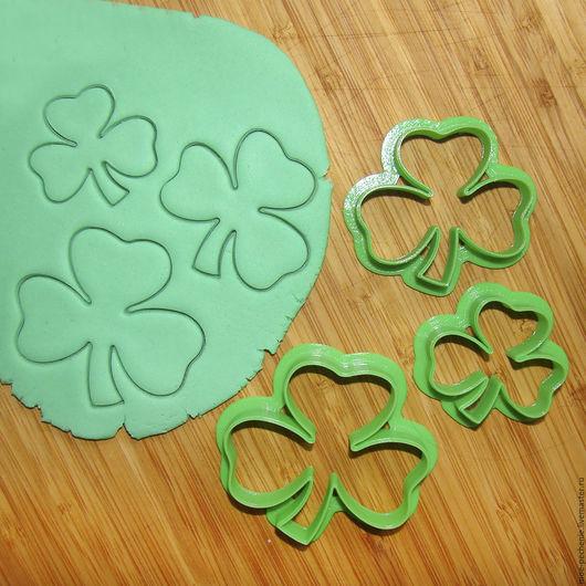 Листья клевера.  Набор из 3 вырубок для печенья, мастики, поделок из соленого теста, пластики.