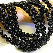 Материалы для творчества handmade. Livemaster - original item Black agate beads 10 mm PCs. Handmade.