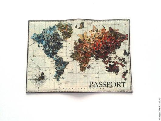 Обложки ручной работы. Ярмарка Мастеров - ручная работа. Купить Обложка для паспорта Бабочки на картеОбложка на паспортПодарок девушке. Handmade.