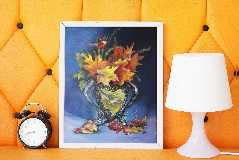 Букет из осенних листьев, натюрморт с птичкой и красной рябиной, Картины, Волгоград,  Фото №1