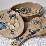 Для дома и интерьера ручной работы. Ярмарка Мастеров - ручная работа Шкатулка и щетка Каменные бабочки-2. Handmade.