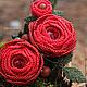 Броши ручной работы. Ярмарка Мастеров - ручная работа. Купить Брошь с цветами из бисера и сваровски, красные розы (0374). Handmade.