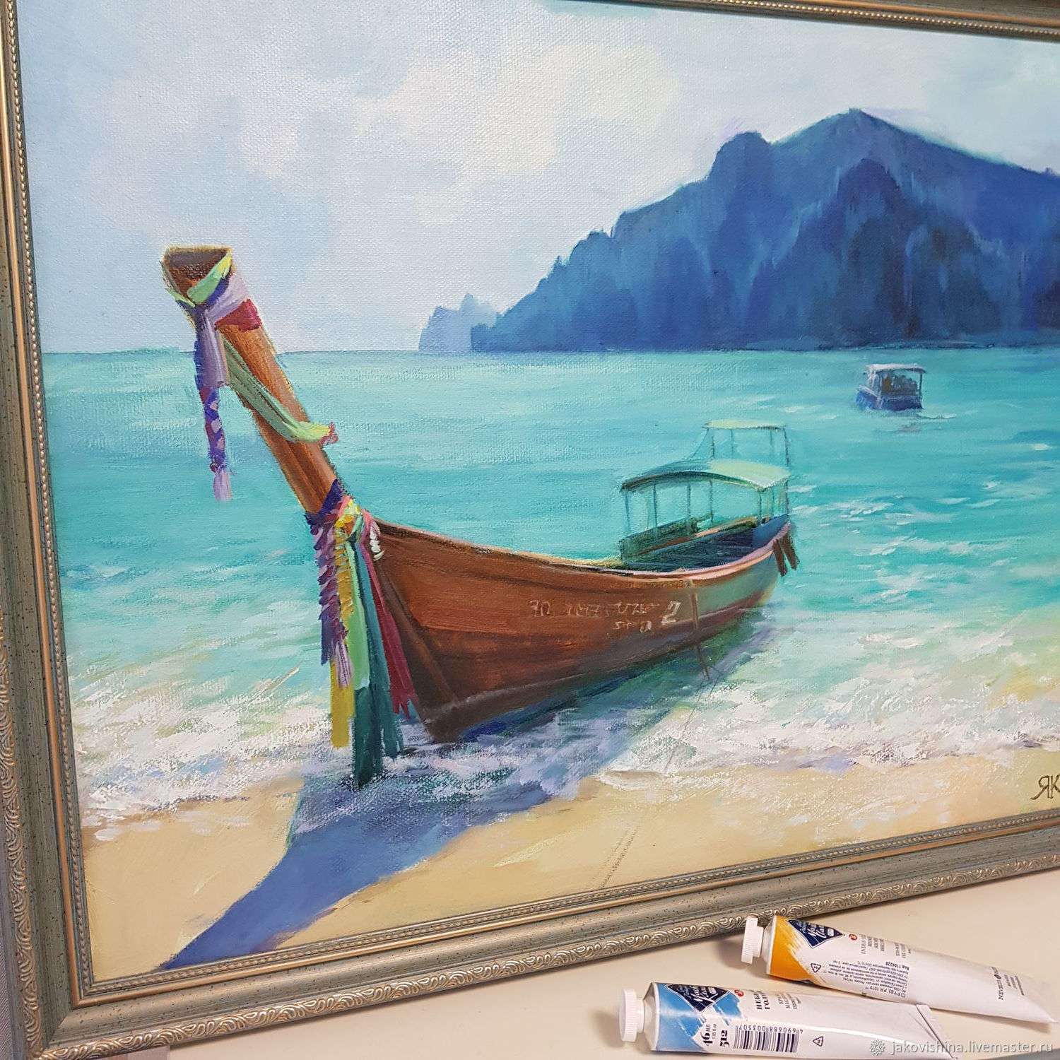 Painting Seascape 'Blue Lagoon' oil Painting, Pictures, Moscow,  Фото №1