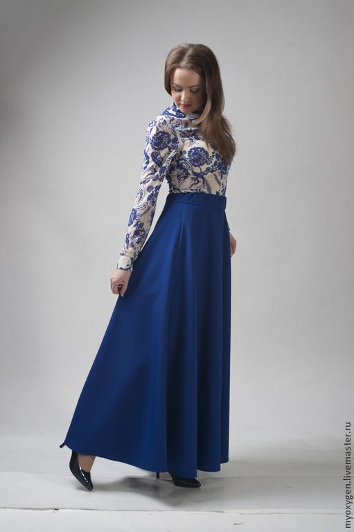 Габардин синий юбка
