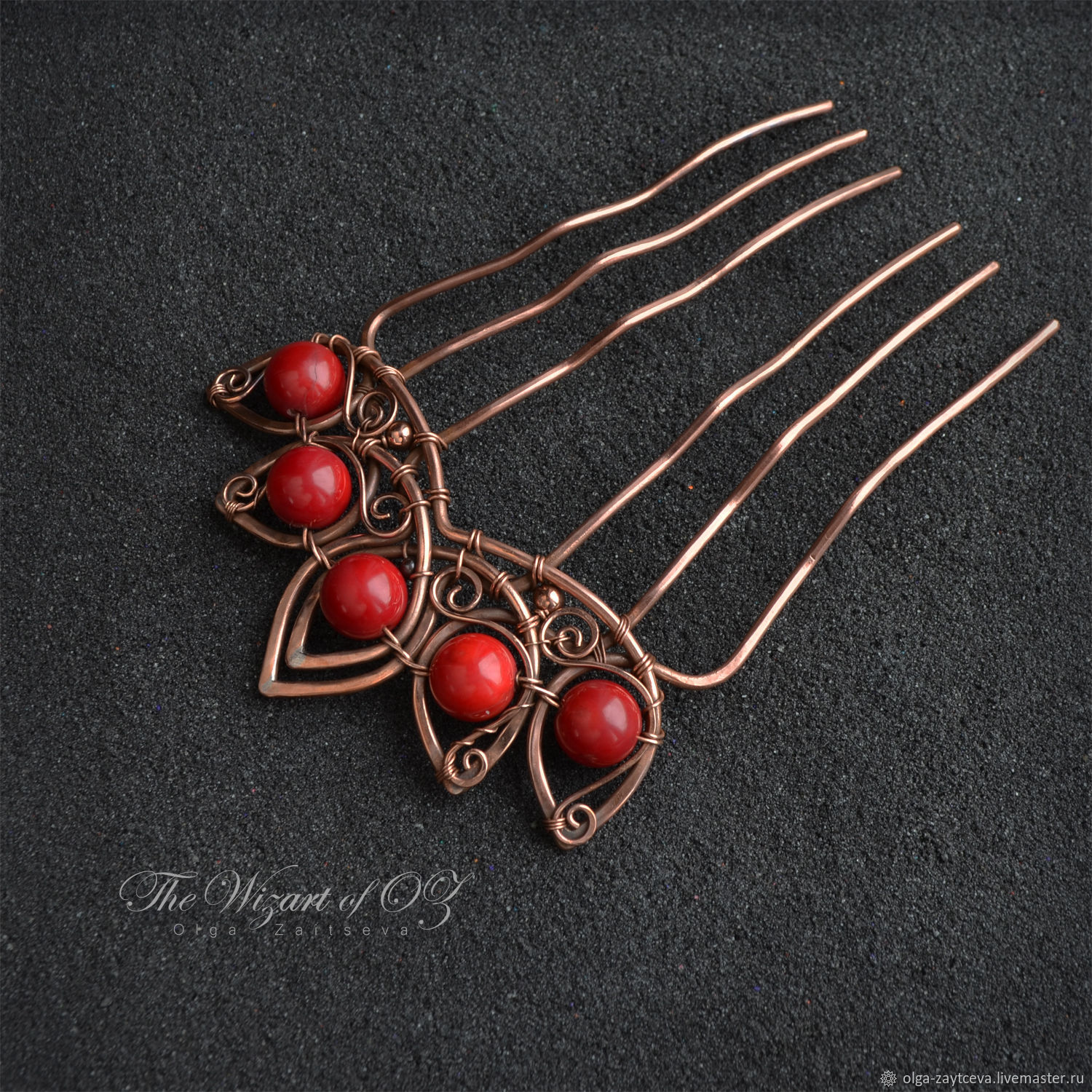 Hair comb coral, copper comb hairpin hairclip – shop online on ...