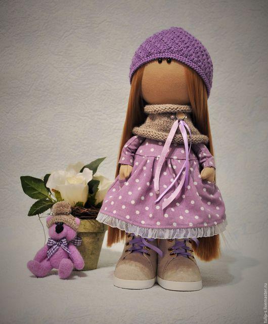 """Человечки ручной работы. Ярмарка Мастеров - ручная работа. Купить Интерьерная текстильная кукла """"Сиреневый туман"""" с мишкой. Handmade. Сиреневый"""