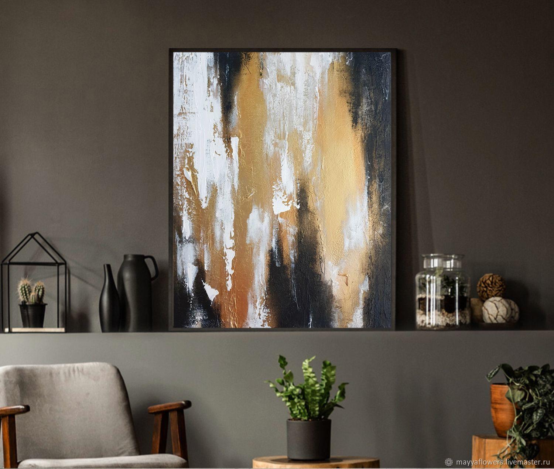 Абстрактная рельефная картина с золочением 40*50 см с фактурой, Картины, Вологда,  Фото №1