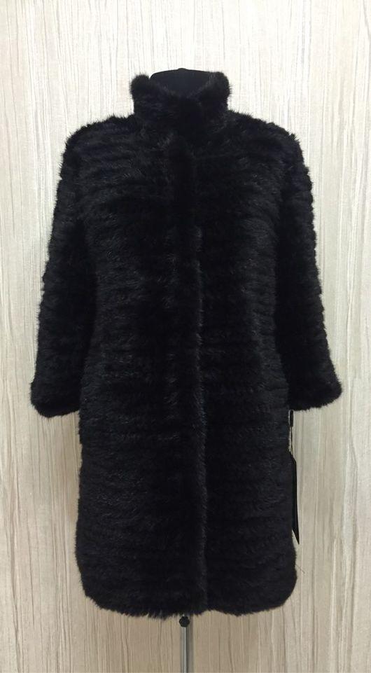 Пальто из вязаной норки «Елена» цвет черный