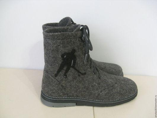 Обувь ручной работы. Ярмарка Мастеров - ручная работа. Купить Ботинки валяные мужские Хоккеист. Handmade. Темно-серый