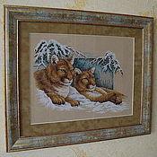Картины и панно ручной работы. Ярмарка Мастеров - ручная работа Вышивка крестом Snowy cougars (Снежные пумы). Handmade.