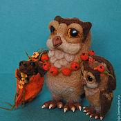 Куклы и игрушки ручной работы. Ярмарка Мастеров - ручная работа Сова Пелагея и маленькая совушка))( валяные игрушки совы). Handmade.