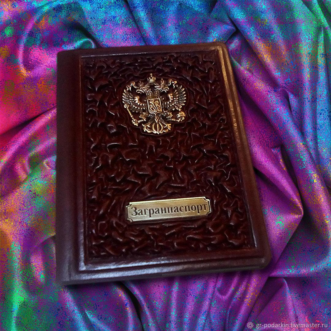"""Обложка на паспорт """"Ваше величество"""" из натуральной коричневой кожи, Passport cover, Essentuki,  Фото №1"""