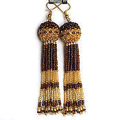 Украшения handmade. Livemaster - original item Amber-brown beaded tassel earrings. Handmade.