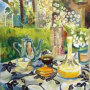 Картины и панно handmade. Livemaster - original item Still Life with Grandma`s Tea Set. Handmade.