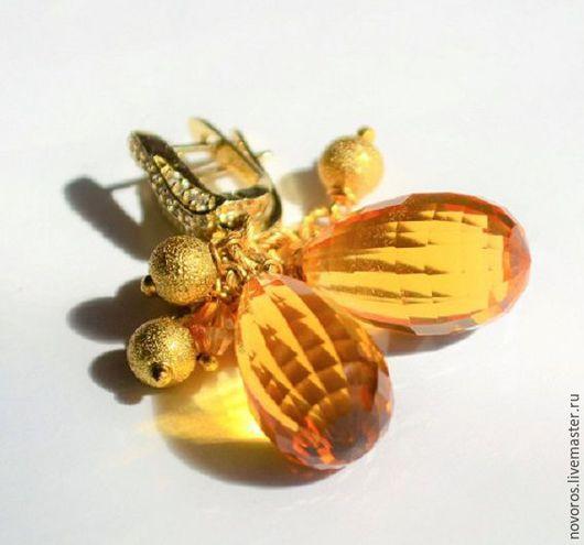 """Серьги ручной работы. Ярмарка Мастеров - ручная работа. Купить Серьги """" Золотой дождь """". Handmade. Оранжевый"""