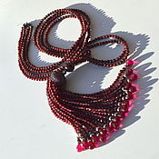 Украшения handmade. Livemaster - original item Sotuar with tassel necklace CRIMSON Natural Garnet Spinel Chrys. Handmade.