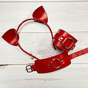 Аксессуары handmade. Livemaster - original item Set in red, genuine leather. Handmade.