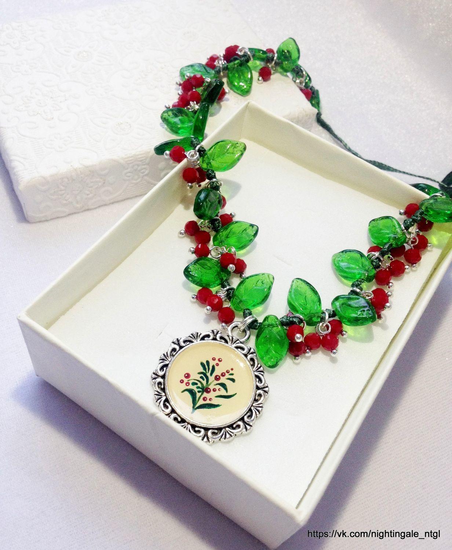 Necklace, pendant Decoration, painting, Necklace, Czech glass, Necklace, Ekaterinburg,  Фото №1
