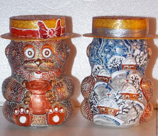 Набор баночек-мишек с временами года. Роспись по стеклу.