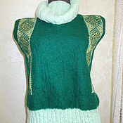 Одежда ручной работы. Ярмарка Мастеров - ручная работа Вялянный жилет, вязаный ворот, вышивка машиная. Handmade.