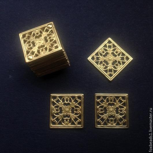 Для украшений ручной работы. Ярмарка Мастеров - ручная работа. Купить 2шт Филигранные основы для украшений из латуни. Квадрат 13х0,4мм. Handmade.