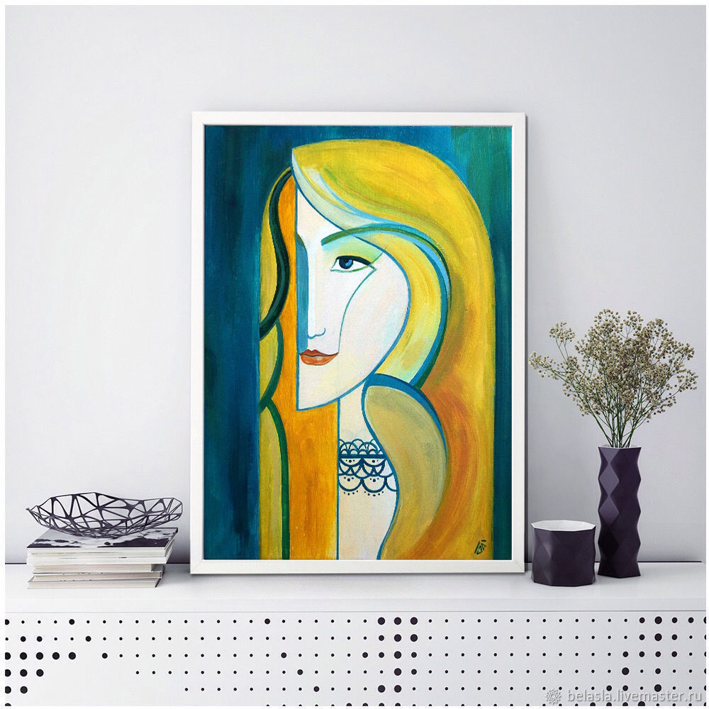 The girl who sings. Stylized portrait. Painting acrylic, Pictures, Moscow,  Фото №1