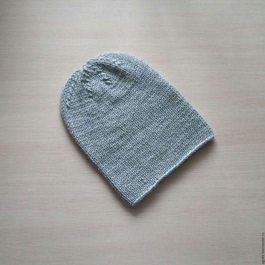 Шапки ручной работы. Ярмарка Мастеров - ручная работа. Купить Вязаная шапка бини. Handmade. Серый, вязаная шапка