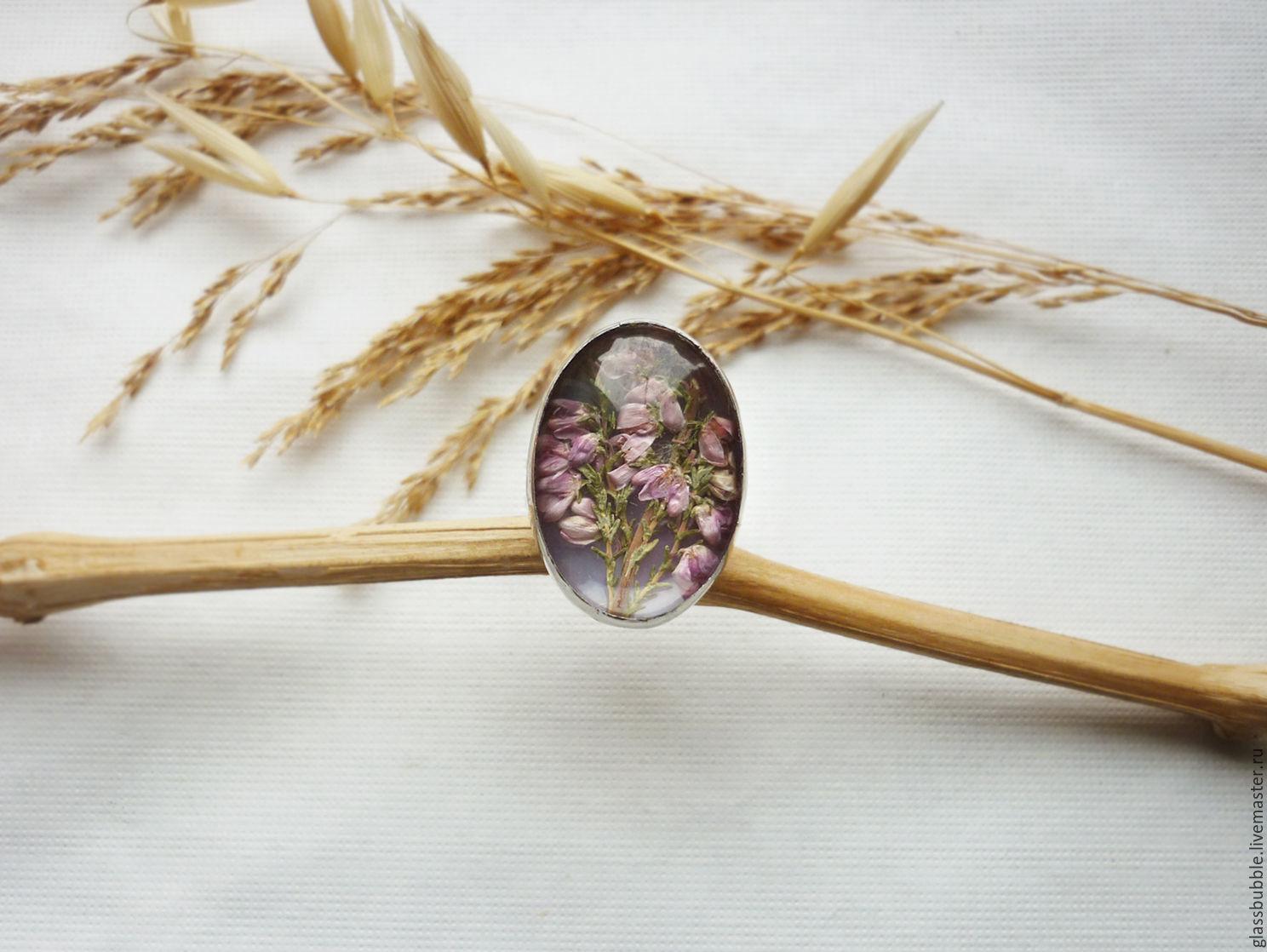 Овальное кольцо Лесной вереск. Засушенные цветы, стекло, олово, Кольца, Санкт-Петербург, Фото №1
