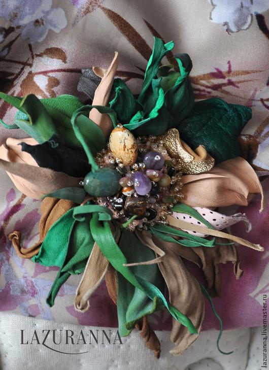 """Броши ручной работы. Ярмарка Мастеров - ручная работа. Купить Брошь цветок """"Малахитовая шкатулка"""". Handmade. Разноцветный, цветок"""