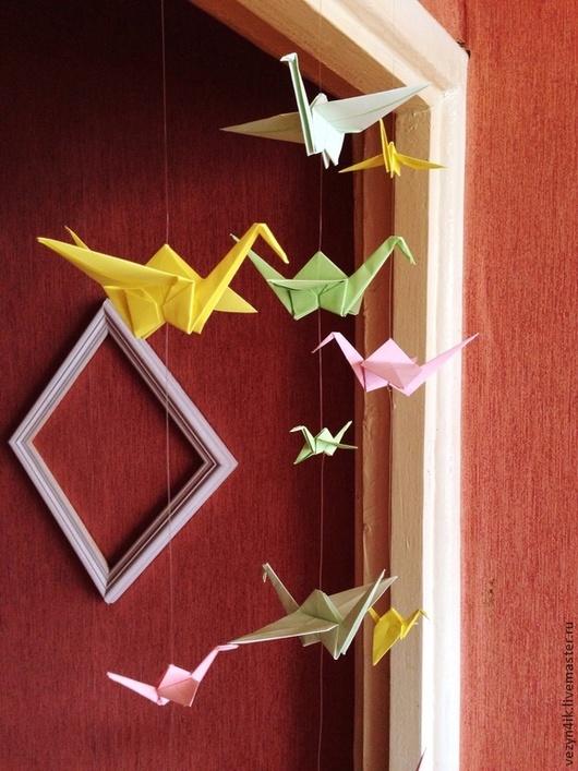 Праздничная атрибутика ручной работы. Ярмарка Мастеров - ручная работа. Купить Журавлики оригами на леске. Handmade. Разноцветный, оригами