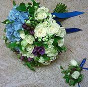 Свадебные букеты ручной работы. Ярмарка Мастеров - ручная работа Букет невесты бело-голубой. Handmade.