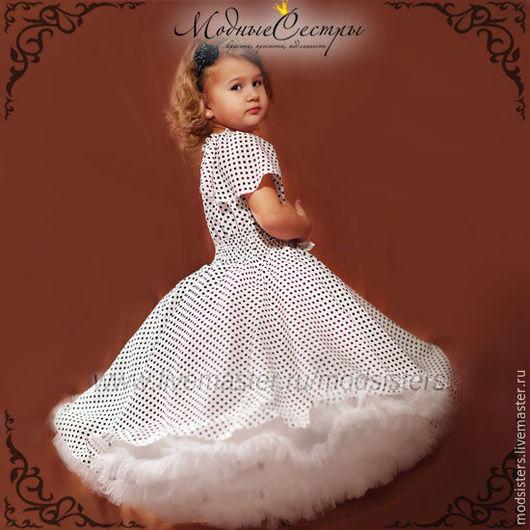 """Одежда для девочек, ручной работы. Ярмарка Мастеров - ручная работа. Купить Детское платье """"Белое черным горохом"""" Арт.325. Handmade."""