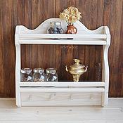 """Для дома и интерьера ручной работы. Ярмарка Мастеров - ручная работа """"Моана"""", Белая настенная открытая деревянная полка на кухню для специй. Handmade."""