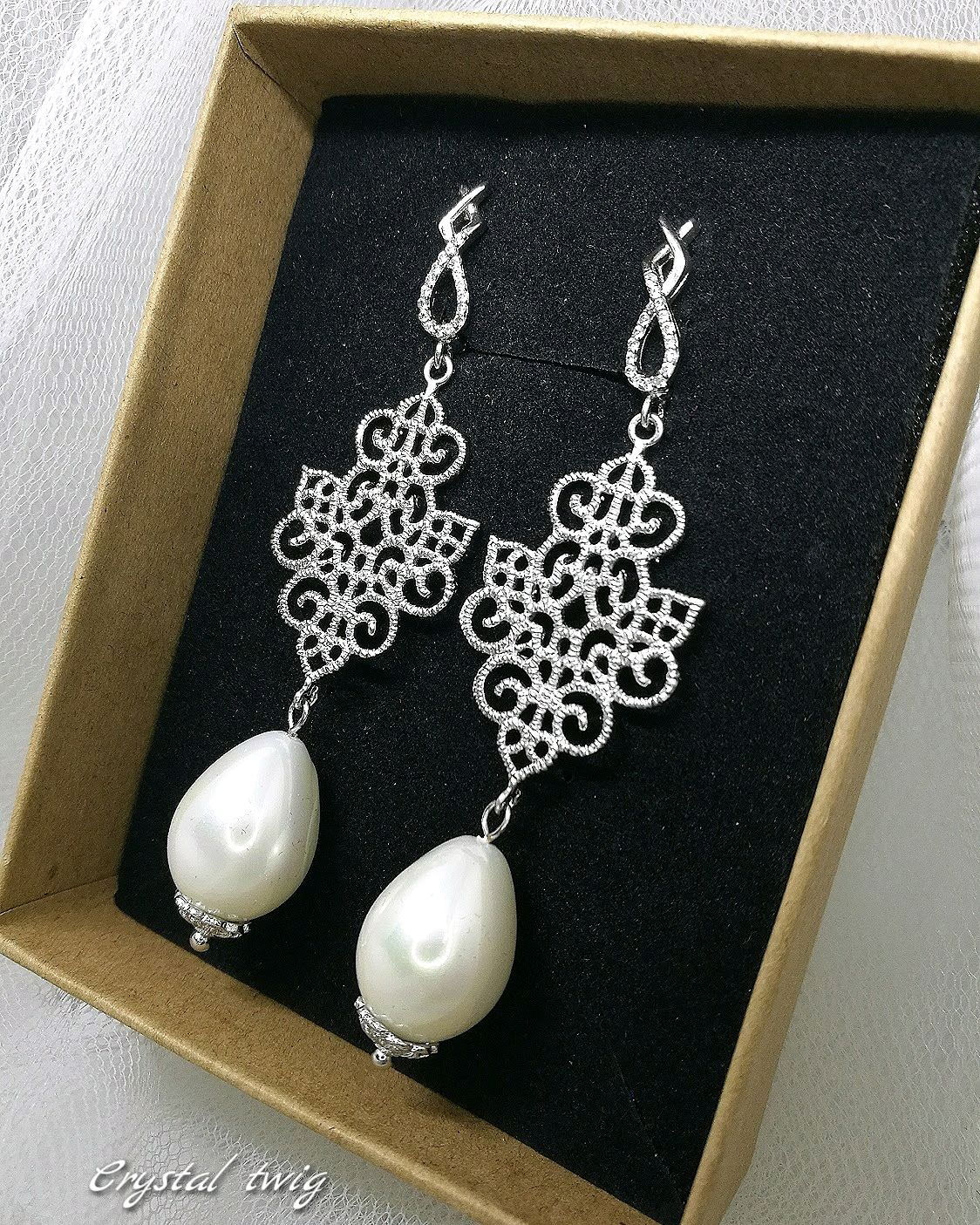 Earrings with Majorca pearls and openwork element, Earrings, Moscow,  Фото №1