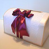 Свадебный салон ручной работы. Ярмарка Мастеров - ручная работа Сундук свадебный с бантом цвета марсала. Handmade.