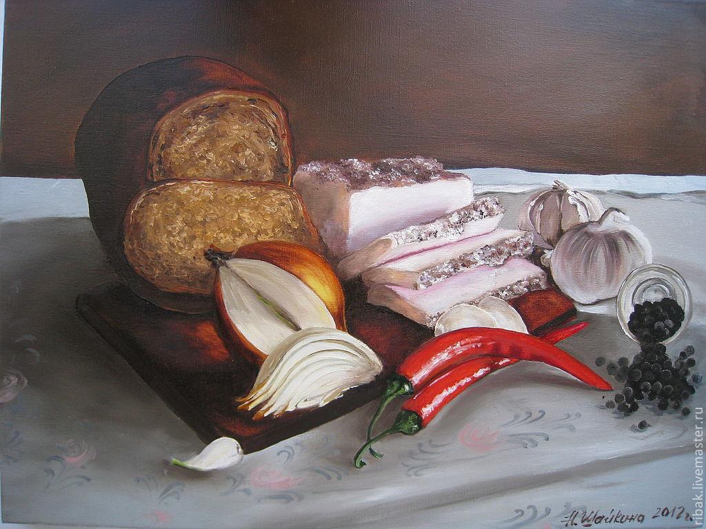 Картина маслом. Натюрморт с салом и перцем, Картины, Сыктывкар, Фото №1
