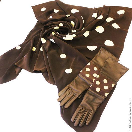 Комплекты аксессуаров ручной работы. Ярмарка Мастеров - ручная работа. Купить Кожаные перчатки с батиком Шоколадный горох. Handmade. Коричневый