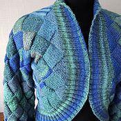 Одежда ручной работы. Ярмарка Мастеров - ручная работа Жакет вязаный Бирюза энтерлак. Handmade.