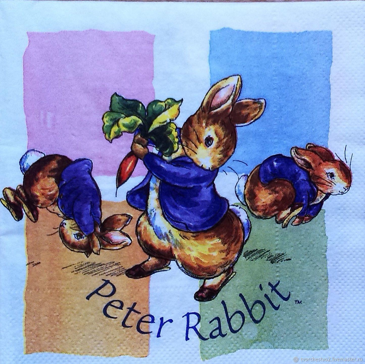Декупаж и роспись ручной работы. Ярмарка Мастеров - ручная работа. Купить Салфетка для декупажа Кролик Peter Rabbit (раритет). Handmade.
