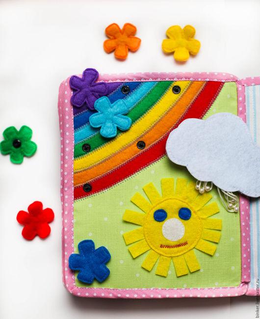 Развивающие игрушки ручной работы. Ярмарка Мастеров - ручная работа. Купить Радуга, солнце и тучка (развивающая книжка). Handmade.