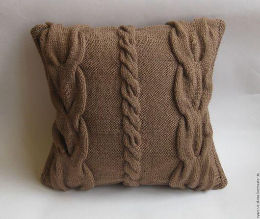 Текстиль, ковры ручной работы. Ярмарка Мастеров - ручная работа. Купить Подушка вязаная декоративная Королевские косы. Handmade. Подушка