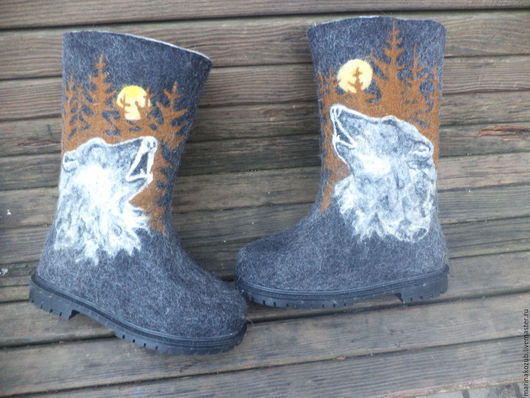 Обувь ручной работы. Ярмарка Мастеров - ручная работа. Купить валенки Одинокий Волк. Handmade. Темно-серый
