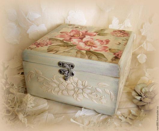 Шкатулки ручной работы. Ярмарка Мастеров - ручная работа. Купить шкатулка Розовые цветы. Handmade. Шкатулка для украшений, шкатулка с цветами